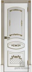 Дверь остекленная Алина белая эмаль с золотой патиной