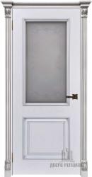 Дверь ИТАЛО багет 32 эмаль белая патина серебро остекленная