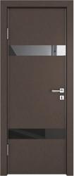 Межкомнатная дверь 502 бронза черное стекло