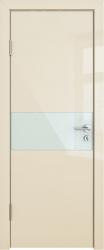 Межкомнатная дверь 501 ваниль глянец стекло белое