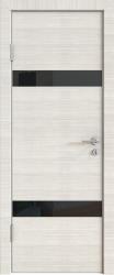 Межкомнатная дверь 502 ива светлая стекло черное