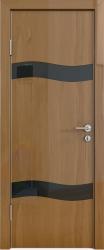 Межкомнатная дверь 503 анегри темный стекло черное