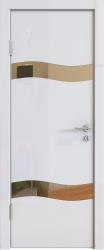 Межкомнатная дверь 503 белый глянец зеркало бронза