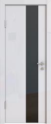 Межкомнатная дверь 504 белый глянец черное стекло
