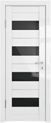 Дверь ДО ТРИС белый глянец черное стекло