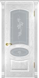 Двери Люксор Грация дуб белая эмаль стекло