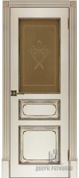Дверь остекленная Классика-5 Эмаль слоновая кость с патиной орех
