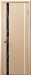 Двери Люксор Трава 1 беленый дуб чёрный триплекс