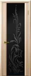 Двери Люксор Трава 2 беленый дуб чёрный триплекс