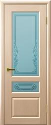 Двери Люксор Валентия 2 беленый дуб стекло