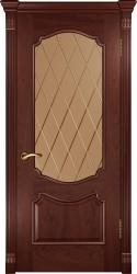 Двери Люксор Венеция красное дерево стекло
