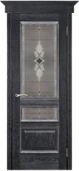 Дверь Вист Вена чёрная патина (тон 21) стекло витраж