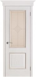 Дверь Вист Шервуд белая патина (тон 17) стекло Ромб