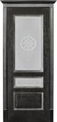Дверь Вист Вена чёрная патина (тон 21) стекло версачи