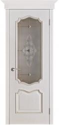 Дверь Вист Премьера белая патина (тон 17) стекло витраж
