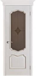 Дверь Вист Премьера белая патина (тон 17) стекло Премьера Ромб