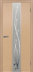 Двери Матадор Астра белёный дуб, зеркало, с элементами художественной пескоструйной обработки