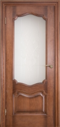 Дверь Портэ Виста Флоренция Престиж темный мед стекло пескоструй