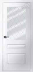 Белорусские двери Роялти белая эмаль стекло