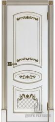 Дверь Алина белая эмаль с золотой патиной