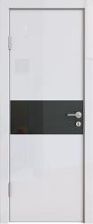 Межкомнатная дверь 501 белый глянец черное стекло