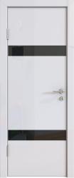 Межкомнатная дверь 502 белый глянец черное стекло