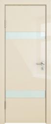 Межкомнатная дверь 502 ваниль глянец стекло белое