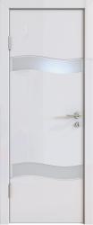 Межкомнатная дверь 503 белый глянец стекло белое