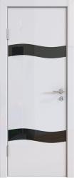 Межкомнатная дверь 503 белый глянец черное стекло