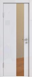 Межкомнатная дверь 504 белый глянец зеркало бронза