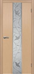 Двери Матадор Астра 2 белёный дуб, зеркало, с элементами художественной пескоструйной обработки