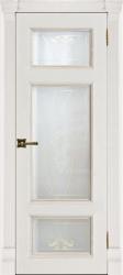 Двери Регионов Гранд 3 дуб патина Bianco стекло